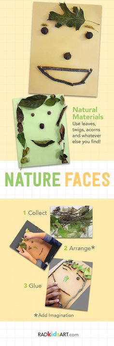Use natural materials like twigs and leaves to make these nature faces!