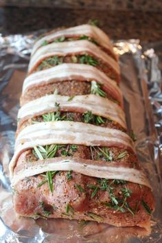 Bacon Wrapped Herb Crusted Pork Loin -- our absolute favorite way to make grass-fed pork tenderloin. yummy moist, and delicious. {Usually use oregano instead of thyme.} (used pork loin, 2 lb roast, needed to cook longer than 45 minutes) Pork Tenderloin Recipes, Pork Recipes, Paleo Recipes, Dinner Recipes, Cooking Recipes, Bacon Wrapped Pork Tenderloin, Recipies, Roasted Pork Loin Recipes, Rosemary Pork Tenderloin