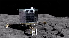 This artist's concept of the Rosetta mission's Philae lander on the surface of comet 67P/Churyumov-Gerasimenko, is from an animation showing the upcoming deployment of Philae and its subsequent science operations on the surface of the comet.