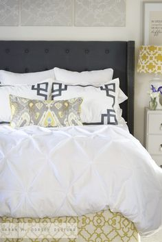 Bedroom in gray, white and yellow   Sarah Richardson Design