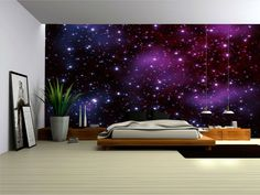 galaxy photo wall mural-celestial themed bedroom decorating