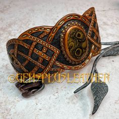 More pictures of this #handmade #tribal #tooledleather #cuff #bracelet with #stromatolite can be seen in my #Etsyshop #Gemsplusleather 😊 Purchasing outside #Etsy is cheaper thus rather contact me directly 😌 #Gemsforall #leather #leathercraft #Leatherwork #artisan #artisanjewelry #leatherjewelry #gemstonejewelry #jewelry #leatherjewelry #leatherart #Handpainted #giftforher #lavkacraft #handmadejewelry #gemstonejewelry #celtic #tribal Tooled Leather, Leather Cuffs, Leather Necklace, Leather Tooling, Beaded Jewelry, Handmade Jewelry, Handmade Items, Craft, Little Gifts