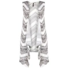 Black And White Printed Sleeveless Cardigan (45 CAD) ❤ liked on Polyvore featuring tops, cardigans, black white top, sleeveless cardigan, cardigan top, no sleeve cardigan and white and black top