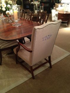 Monogrammed dining room chairs? Yes please. Found at Ethan Allen #jendarling