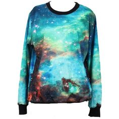 Tparis Galaxy Patterned Sweatshirts Printed Colorful Pullovers Women... ($19) ❤ liked on Polyvore featuring tops, shirts, sweaters, galaxy, colorful tops, multicolor shirt, skull top, nebula shirt and galaxy top