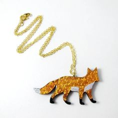 Matin Lapin Hand Foiled Fox Pendant Necklace ($20) ❤ liked on Polyvore featuring jewelry, necklaces, fox necklace, pendant necklace, fox pendant necklace, sparkly necklace and fox jewelry