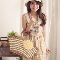 $24.13 Summer stripes flowers, rattan bag handbag