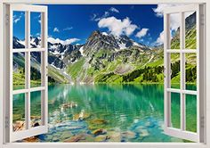 """Mirror Mountain Lake 3D Removable Vinyl Wall Sticker Mural Decal Home Window Large 33.5"""" x 47"""" Bomba-Deal http://www.amazon.com/dp/B00O90675Y/ref=cm_sw_r_pi_dp_r4hnub1P6TNBY"""