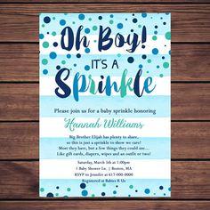 Baby Sprinkle Invitation Boy Blue by DesignedbyGeorgette on Etsy