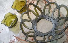 RECYCLING OLIVE BOTTLES into functional spectacular bowls, home decor, votives, candle holders, bread basket. $32.00, via Etsy.