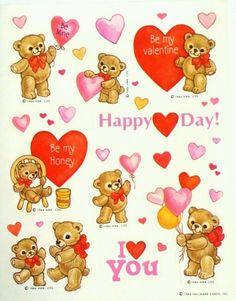 Vintage Adorable Valentine's Bears Sticker Sheet by Hallmark