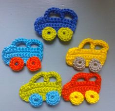 Gehaakte auto applicatie/crochet car application. Free pattern written in Dutch