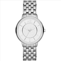AX Armani Exchange Round Bracelet Watch, available at Armani Watches For Women, Ladies Watches, Women's Watches, Watches Online, Jewelry Accessories, Jewelry Design, Boyfriend Watch, Amazing Watches, Stainless Steel Bracelet