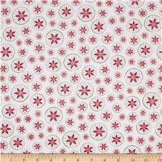 Frosty Forest Poinsettia Circles White/Red