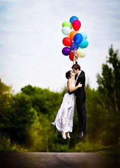 Creative wedding photo with balloon