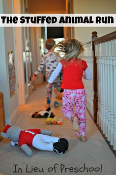 a fun, indoor gross motor activity invented by kids for kids!: Line up puppets and stuffed animals in hall, and have kids run down, hopping over them! Good for rainy days