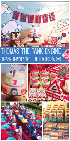 A Thomas the Tank Engine boy birthday with an awesome dessert table and photo booth activity!  See more party planning ideas at CatchMyParty.com!