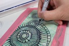 Experiment on postcard with watercolor, alcohol, acetone, hypotrochoid designs (spirograph) and patterns