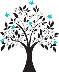 Elegant/Whimsical Vinyl Tree and Birds Decal- Vinyl Wall Decal/Décor. $99.00, via Etsy.