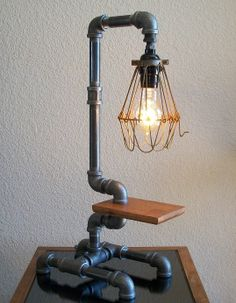 Industrial Art Desk Table Pipe Lamp with Wire Shade and Reclaimed Hardwood