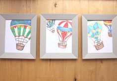 Up and Away Hot Air Ballon's - Set of 3 whimsical Original art Prints, Boys room, nursery, by LittleFellaPrints on Etsy https://www.etsy.com/listing/250615093/up-and-away-hot-air-ballons-set-of-3