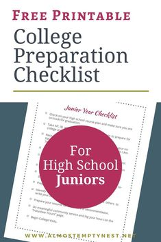 High school junior checklist for preparing for college in high school: Get ready for college with this printable junior year of high school checklist; College Preparation Checklist for High School Juniors for your College Preparation Binder College Binder, College Board, College Checklist, College Planning, College Tips, College Essay, Kids Checklist, Scholarships For College, Education College