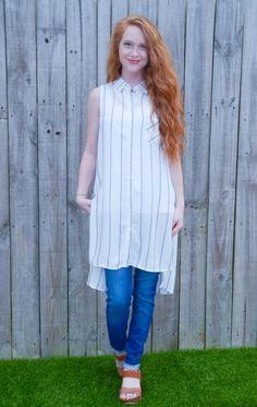 Paperdoll - Hi-low Buttondown Striped Tunic, $36.95 (http://www.paperdollchick.com/hi-low-buttondown-striped-tunic/)
