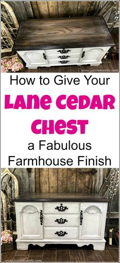 Give your vintage Lane cedar chest a painted furniture makeover. Combine chalk paint with stain for a farmhouse finish. Find painted hope chest ideas with painted furniture this lane chest redo can be great inspiration. Redo Furniture, Painted Furniture, Painted Cedar Chest, Cedar Chest, Hope Chest Makeover, Recycled Furniture, Shabby Chic Furniture, Chic Home Decor, Dark Furniture