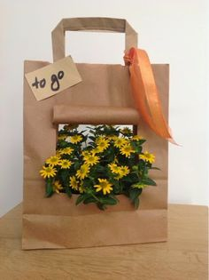 Blümchen to go - what a cute idea! - - Blümchen to go – what a cute idea! DIY Geschenke selber machen Blümchen to go – what a cute idea! Flowers To Go, Little Flowers, Gift Flowers, Fleurs Diy, Diy Mask, Gift Packaging, Creative Gifts, Gift Bags, Gift Baskets