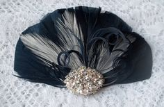 Navy Blue and White Feather Fascinator Vintage by kathyjohnson3, $34.00