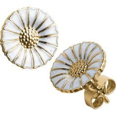 Daisy earrings in gold plated sterling silver with white enamel. Visit the Georg Jensen online store for easy shopping, beautiful gift wrapping and safe shipping. Explore the full Daisy collection of rings, earrings, pendants and bracelets. Gold Plated Earrings, Gold Earrings, Pendant Earrings, Leaf Jewelry, Jewellery, Silver Jewelry, Silver Ring, Cameo Pendant, Flower Plates