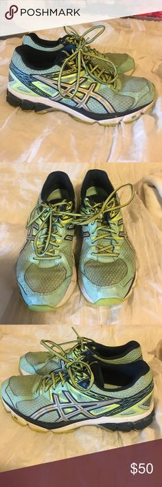 ASICS running shoes Good used condition!  Just need to be washed (which I can do before I ship if you would like) GT-1000. Ice blue and green. Asics Shoes Athletic Shoes