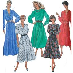 Women's Easy to Sew Dress Sewing Pattern - Gored Skirt, Elastic waist - Size 16 18 20 Bust 38 to Bust 42 - Simplicity 9961 - Petite Uncut