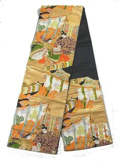 This is an elegant fukuro obi with pattern of noble people from Heian.Ž¡Ž¡'Kicho'( partition used by noble people in ancient days) motif is also woven in the black and gold background.  Textile is silk and has soft touch.
