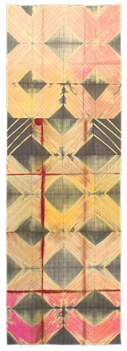 """Fold/Unfold 2, 2012, 60""""h. x 20"""" w., silk broadcloth, dyed with Procion MX dyes, and over-dyed with vat dyes; machine pieced and machine quilted."""