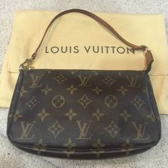 Louis Vuitton monogram pouchette This pouchette is in mint condition. It comes with the dust bag. The handle is perfect.   Lightly patina Louis Vuitton Bags