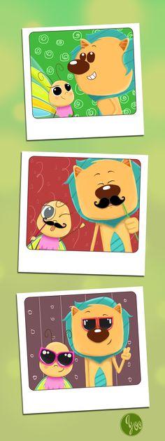 Leãozinho e Borboletinha. Estudo de personagens para livro infantil.
