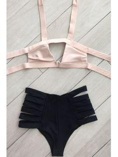 Hit Color Bandage Halter Bikini Set OFF-WHITE: Bikinis   ZAFUL