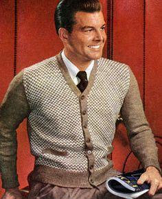50s style men's cardigan, #knitting pattern ... #vintage #sweaters