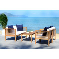 Beachcrest Home Daytona 4 Piece Sofa Seating Group with Cushions Frame Colour: Natural, Cushion Colour/Pillow Colour: White/Navy Outdoor Sofa Sets, Outdoor Chairs, Outdoor Living, Outdoor Furniture Sets, Outdoor Lounge, Rattan Furniture Set, Luxury Furniture, Painted Furniture, White Cushions
