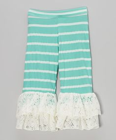 Another great find on #zulily! Teal & White Stripe Lace Ruffle Pants - Toddler & Girls by Ruby and Rosie #zulilyfinds