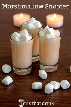 The Marshmallow Shooter is a cocktail I came up with when I was trying to make a drink that tasted like a marshmallow. It's vanilla, sweet and just a little bit buttery. Not exactly marshmallow, but good.
