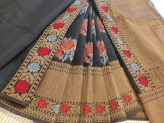 Black Banarasi Cotton Silk Saree With Red Rose Flower Motif All Over COST : 3400 INR Cotton Saree, Cotton Silk, Silk Sarees, Red Rose Flower, Red Roses, Whatsapp Messenger, Black, Black People, Silk