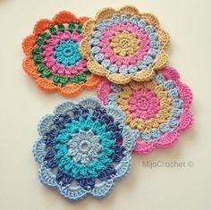 Happy flowery coasters for cold summer drinks. Enjoy!