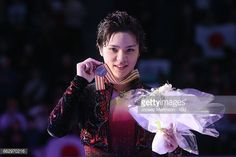 HELSINKI, FINLAND - APRIL 01: Shoma Uno of Japan poses in the Men's medal ceremony during day four of the World Figure Skating Championships at Hartwall Arena on April 1, 2017 in Helsinki, Finland. (Photo by Joosep Martinson - ISU/ISU via Getty Images)