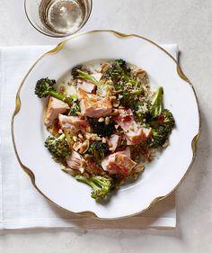 Roasted Salmon with Crispy Broccoli and Quinoa | RealSimple.com