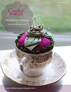 Vintage tea cup pin cushion. #pincushions #DIY #crafts #sewing