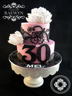 Peony And Black Lace Our Gorgeous Friend Mel Turned 30 Last Week Whippersnapper I Had The Pleasure Of Making A Birthday Cake For