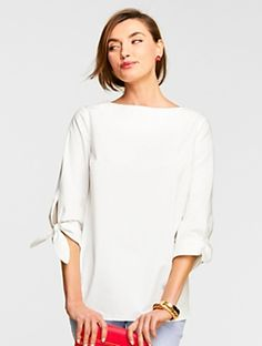 Talbots - Tie-Sleeve Popover |  |  Discover your new look at Talbots. Shop our Tie-Sleeve Popover for stylish clothing and accessories with a modern twist at Talbots