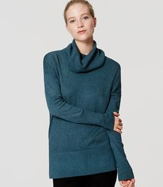 Image of Petite Cowl Neck Tunic Sweater color Deep Turquoise Melange